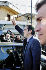Spitzenkandidat Alexis Tsipras besucht die nordgriechische Stadt Drama