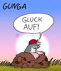 Maulwurf mit Helm sagt Glueck auf