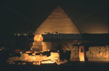 Pyramide und Sphinx bei Nacht