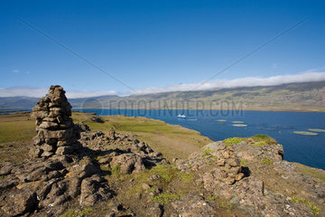 Iceland  scenic view with aquafarm visible in distance