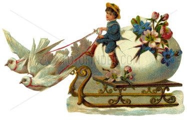 Tauben ziehen Schlitten mit riesigem Osterei  1912