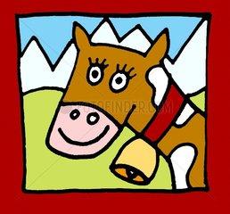 Kuh mit Kuhglocke Tierportrait Berge