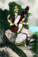 Bild der indischen Goettin Saraswati