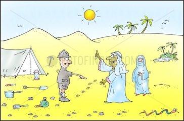wueste zelt forshcer araber spuren