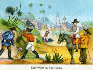 Goldgraeber in Australien  1860