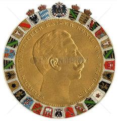 Kaiser Wilhelm II.  Medaille Praegedruck  1908