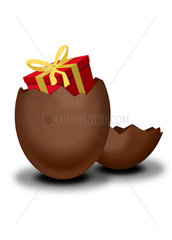 Chocolate Easter egg containing wrapped gift