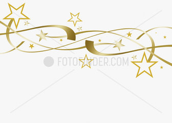 Festive stars and streamers on white background