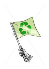 Hand holding flag with recycling symbol