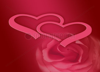 Hearts and rose on red background