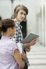 Young man on university campus