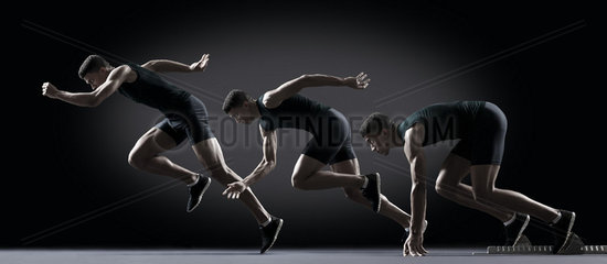 Sequence of male athlete running from starting line