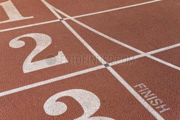 Lanes of running track  focus on lane two