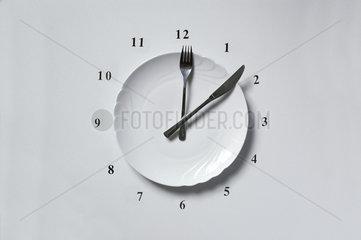Uhr aus Teller Messer und Gabel