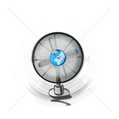 Wind energy  fan with earth in center