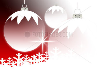 Christmas ornaments and snowflakes on red background