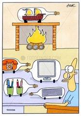 ZAK cartoon Schreibtisch