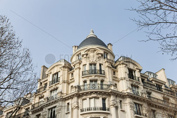 Facade of 19th Century style building  low angle view