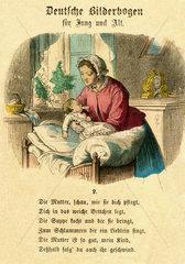 Mutter bringt ihr Baby zu Bett  1867
