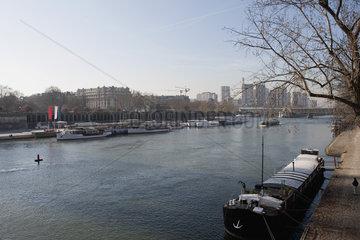 Banks of Seine River  Paris  France