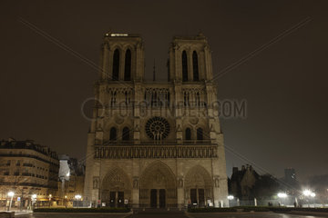 France  Paris  Notre Dame de Paris illuminated at night