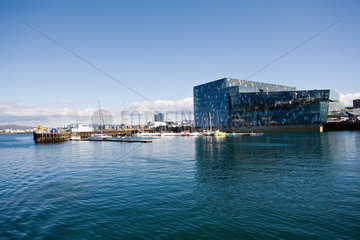 Iceland  Reykjavik  Harpa Concert Hall and marina viewed from harbor