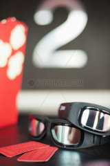 Movie tickets and 3-D glasses