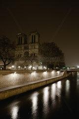 Notre Dame de Paris viewed over Seine river  Paris  France
