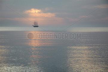 Deutschland  Ostsee Segelschiff im Sonnenuntergang