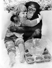 Schimpanse umarmt Maedchen