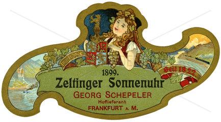 uraltes Weinetikett  Zeltinger Sonnenuhr  1899