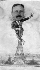 Mann auf dem Eiffelturm in Paris