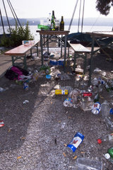 Baenke an Ratsplatz voll mit Abfall