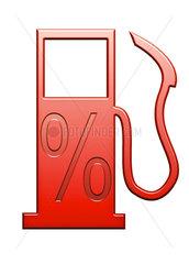 Rotes Zapfsaeulensymbol mit Prozentzeichen