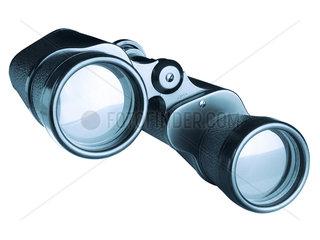 Fernglas von vorn auf weissem Hintergrund
