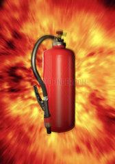 Feuerloescher mit Flammen - Explosion