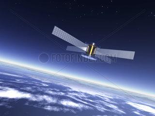Ein Satellit im All ueber der Erde