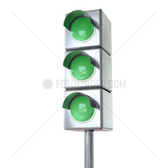 Ampel mit 3 gruenen Lichtern - 3 Green Lights on White Background