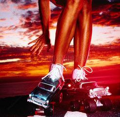 Autos als Rollschuhe