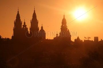 Silhouette der Kathedrale von Santiago de Compostela - Camino de Santiago