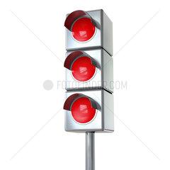 Ampel mit 3 roten Lichtern - Red Lights on White Background