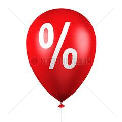 Ballons mit Prozentzeichen auf weiss - balloons with percentage sign on white background