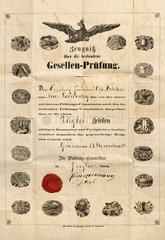 Zeugnis ueber bestandene Gesellenpruefung  1879