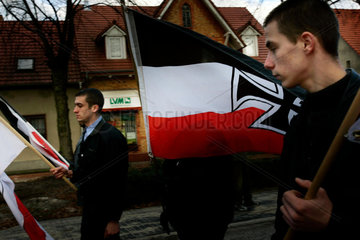 Neo Nazis demonstrate to the honor of killed German soldiers and members of the SS