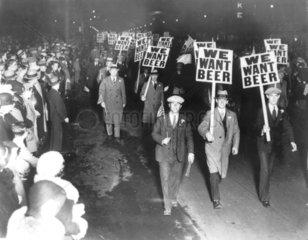 Wir wollen Bier  Demonstration gegen die Prohibition in den USA