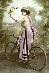 Frau Fahrrad Blumen