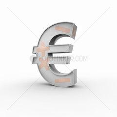 Eurozeichen mit Pflastern auf der Oberflaeche