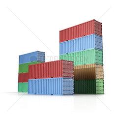 Container / Frachtcontainer fuer Schiffsfracht auf weissem Hintergrund