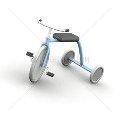 Hellblaues Retro Dreirad mit weissen Reifen auf weissem Hintergrund