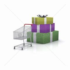 Geschenke und Einkaufswagen auf weissem Hintergrund